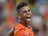 Kwame Yeboah of the Roar celebrates after scoring a goal during the round seven A-League match between the Brisbane Roar and the Western Sydney Wanderers on November 22, 2013