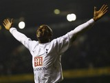 Jermain Defoe of Tottenham Hotspur celebrates as he scores the first goal during the Carling Cup Quarter Final match between Tottenham Hotspur and Southend United at White Hart Lane on December 20, 2006