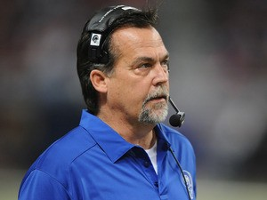 Head coach Jeff Fisher of the St. Louis Rams watches from the sidelines during a game against the Tampa Bay Buccaneers at the Edward Jones Dome on December 22, 2013