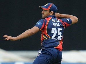 Ravi Bopara of Essex throws the ball towards the wicket during the Friends Life T20 Semi Final match between Northampton Steelbacks and Essex Eagles on August 17, 2013
