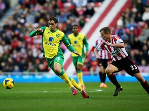 Johan Elmander of Norwich City is chased by Lee Cattermole of Sunderland during the Barclays Premier League match between Sunderland and Norwich City at Stadium of Light on December 21, 2013