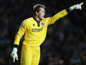 Brighton and Hove Albion goalkeeper Tomasz Kuszczak instructs his team during the Sky Bet Championship match between Brighton & Hove Albion and Watford at Amex Stadium on October 28, 2013