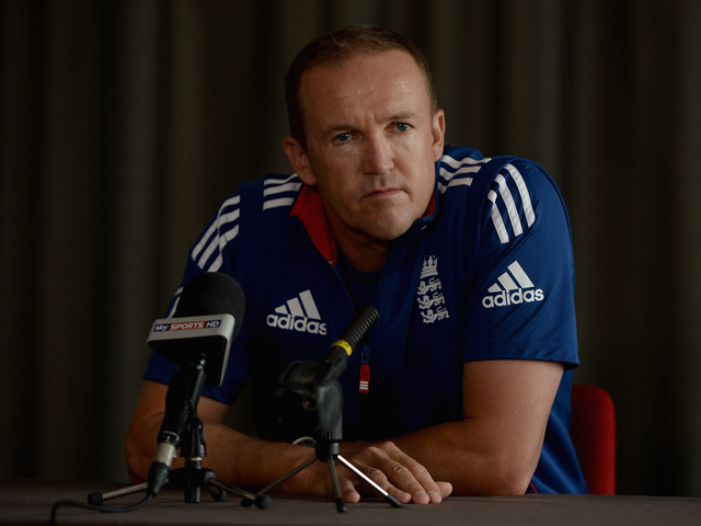 England coach Andy Flower speaks to the media during a press conference at the team hotel on December 18, 2013