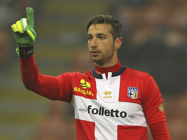 Antonio Mirante of Parma FC gestures during the Serie A match between FC Internazionale Milano and Parma FC at Stadio Giuseppe Meazza on December 8, 2013