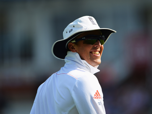 Graeme Swann of England smiles during day five of the 5th Investec Ashes Test match between England and Australia at the Kia Oval on August 25, 2013