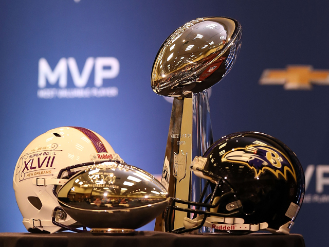 Detail of the MVP and Super Bowl trophies during the Super Bowl XLVII Team Winning Coach and MVP Press Conference at the Ernest N. Morial Convention Center on February 4, 2013