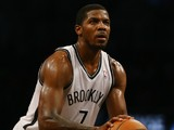 Joe Johnson #7 of the Brooklyn Nets shoots a fould shot against the Philadelphia 76ers during their game at the Barclays Center on December 16, 2013