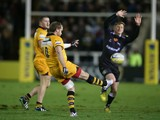Andy Goode of Wasps kicks the ball upfield during the Aviva Premiership match between Newcastle Falcons and London Wasps at Kingston Park on December 27, 2013