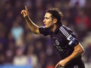 Chelsea's Frank Lampard celebrates his goal away at Wigan Athletic on December 23, 2006.