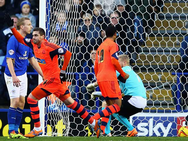 Bolton's Andre Moritz celebrates after scoring his team's opening goal against Leicester during their Championship match on December 29, 2013