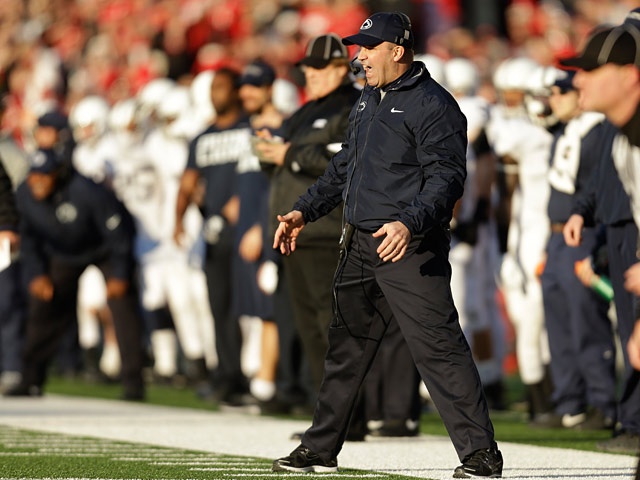 Penn State head coach Bill O'Brien reacts during the game against Wisconsin on November 30, 2013