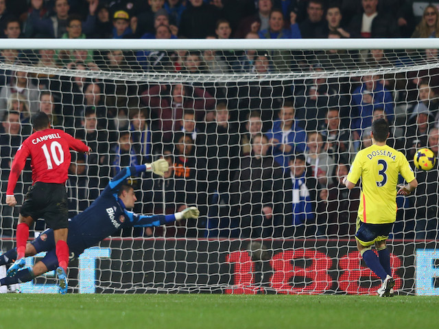 Frazier Campbell of Cardiff City scores his sides second goal during the Barclays Premier League match against Sunderland on December 28, 2013