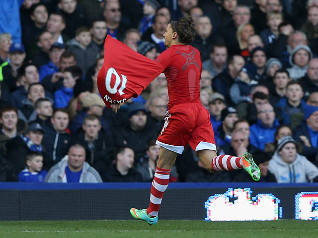 Southampton's Gaston Ramirez celebrates after scoring his team's opening goal against Everton during their Premier League match on December 29, 2013