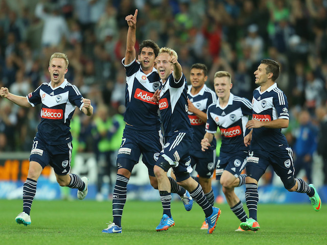 Guilherme Finkler of the Victory celebrates after scoring a goal during the round 12 A-League match between Melbourne Victory and the Western Sydney Wanderers on December 28, 2013