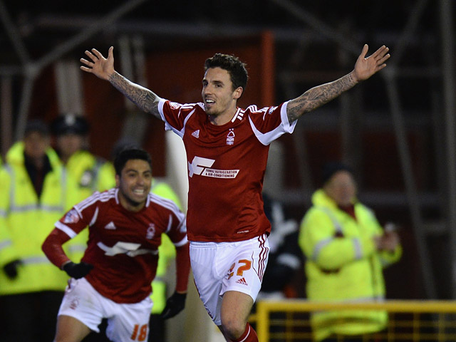 Forest's Matt Derbyshire celebrates after scoring his team's second goal against Leeds during their Championship match on December 29, 2013