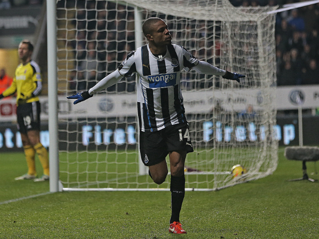 Newcastle United's French striker Loic Remy celebrates scoring their third goal during the English Premier League football match between Newcastle United and Stoke City at at St James' Park in Newcastle-upon-Tyne, northeast England on December 26, 2013
