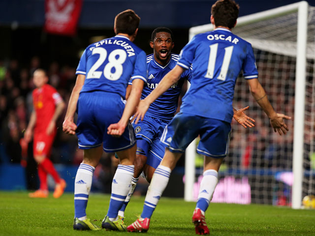 Chelsea's Samuel Eto'o celebrates after scoring his team's second goal against Liverpool during their Premier League match on December 29, 2013