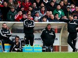 Sam Allardyce manager of West Ham United (2R) shouts from the bench during the FA Cup with Budweiser Third round match against Nottingham Forest on January 5, 2014