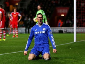 Fernando Torres of Chelsea celebrates after scoring the opening goal during the Barclays Premier League match between Southampton and Chelsea at St Mary's Stadium on January 1, 2014