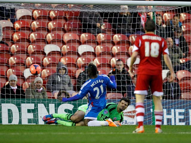 Hull's Aaron Mclean scores the opening goal against Middlesbrough during their FA Cup third round match on January 4, 2013