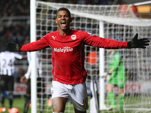 Cardiff's Fraizer Campbell celebrates after scoring his team's second goal against Newcastle during their FA Cup third round match on January 4, 2013