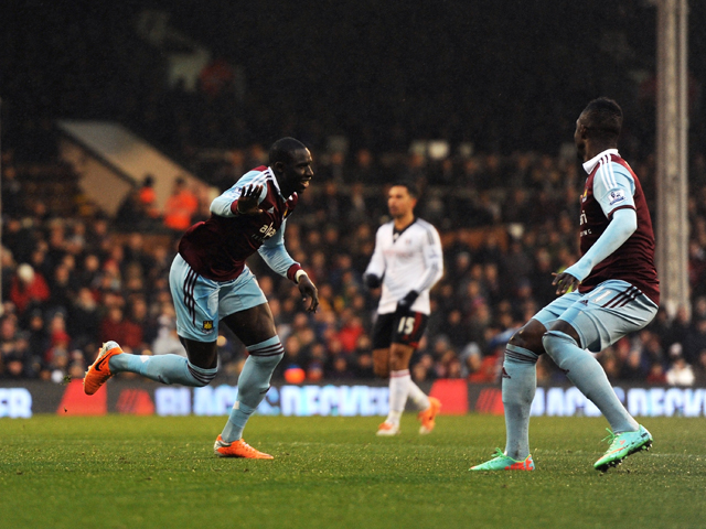 Mohamed Diame of West Ham celebrates after scoring the opening goal during the Barclays Premier League match between Fulham and West Ham United at Craven Cottage on January 1, 2014