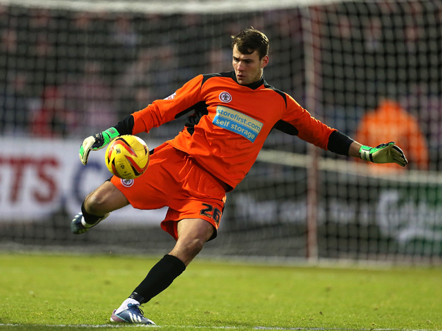 Marcus Bettinelli of Accrington Stanley in action during the Sky Bet League Two match between Northampton Town and Accrington Stanley at Sixfields Stadium on November 30, 2013