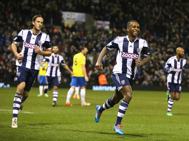 Saido Berahino of West Browmwich Albion celebrates after scoring the winning penalty during the Premier League match between West Bromwich Albion and Newcastle United at The Hawthorns on January 1, 2014