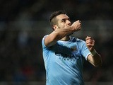 Man City's Alvaro Negredo celebrates after scoring his team's second goal against Newcastle during their Premier League match on January 12, 2014
