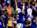 Quarterback Andrew Luck #12 of the Indianapolis Colts celebrates after defeating the Kansas City Chiefs 45-44 in a Wild Card Playoff game at Lucas Oil Stadium on January 4, 2014