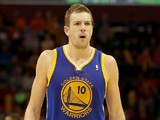 David Lee of the Golden State Warriors walks up court after a play in the fourth quarter against the Cleveland Cavaliers at Quicken Loans Arena on December 29, 2013