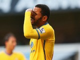 Jason Puncheon of Crystal Palace reacts after missing his penalty during the Barclays Premier League match between Tottenham Hotspur and Crystal Palace on January 11, 2014