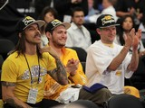 Anthony Kiedis and Flea of Red Hot Chili Peppers attend Game Seven of the NBA playoff finals between the Boston Celtics and the Los Angeles Lakers during the 2010