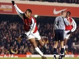 Arsenal's Thierry Henry celebrates scoring against Aston Villa on December 09, 2001.