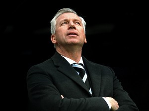 Newcastle manager looks on before kick-off against Manchester City in their Premier League match on January 12, 2014