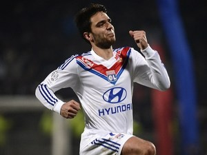 Lyon's French midfielder Clement Grenier celebrates after scoring a goal during the French L1 football match Olympique Lyonnais (OL) vs Sochaux (FCSM) on January 11, 2014