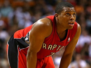 Kyle Lowry of the Toronto Raptors looks on during a game against the Miami Heat at AmericanAirlines Arena on January 5, 2014