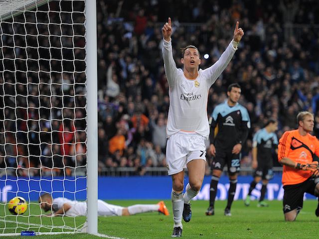 Cristiano Ronaldo of Real Madrid CF celebrates after scoring Real's 2nd goal during the La Liga match between Real Madrid CF and RC Celta de Vigo on January 6, 2014
