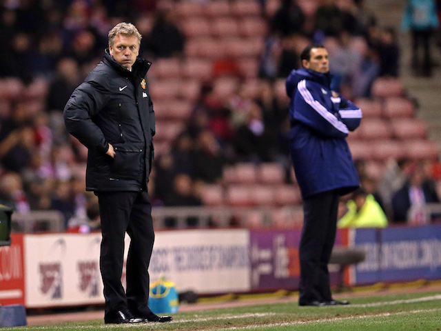 Manchester Uniteds Scottish manager David Moyes looks on during a League Cup semi-final first leg match between Sunderland and Manchester United at the Stadium of Light on January 7, 2014