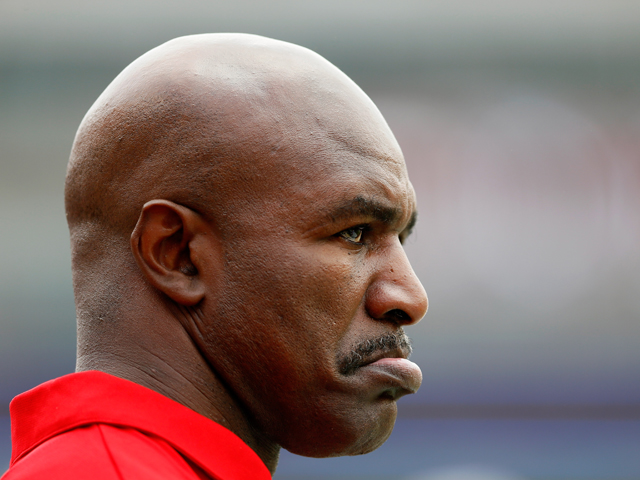 Former World Heavyweight Boxing Champion Evander Holyfield looks on during the game against the Western Kentucky Hilltoppers facing the Alabama Crimson Tide at Bryant-Denny Stadium on September 8, 2012
