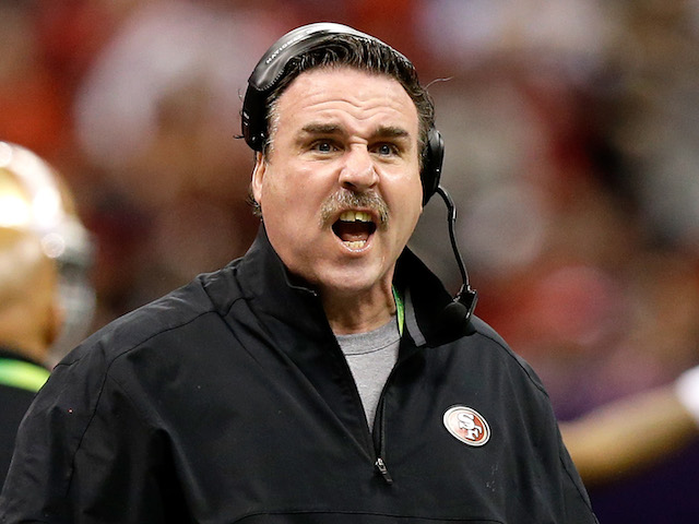Defensive line coach Jim Tomsula of the San Francisco 49ers reacts as he coachs against the Baltimore Ravens during Super Bowl XLVII on February 3, 2013