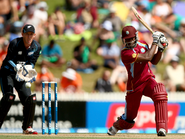 Kirk Edwards of the West Indies bats during game five of the One Day International Series between New Zealand and the West Indies at Seddon Park on January 8, 2014