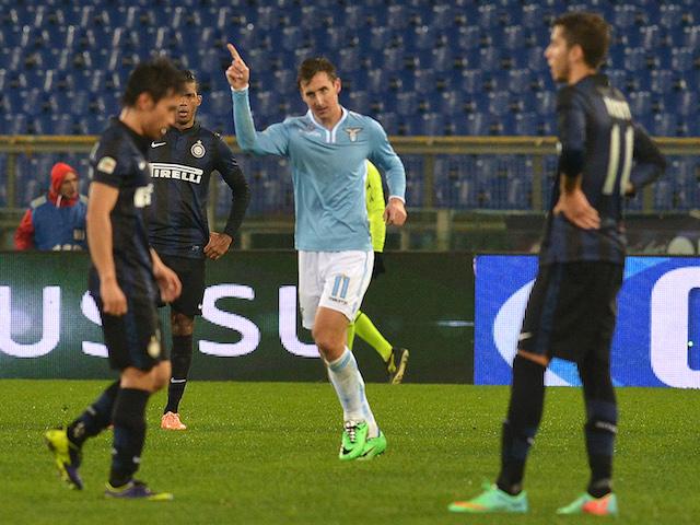 Lazio's German forward Miroslav Klose celebrates his goal during the Italian Serie A football match between Lazio Rome and Inter Milan on January 6, 2014