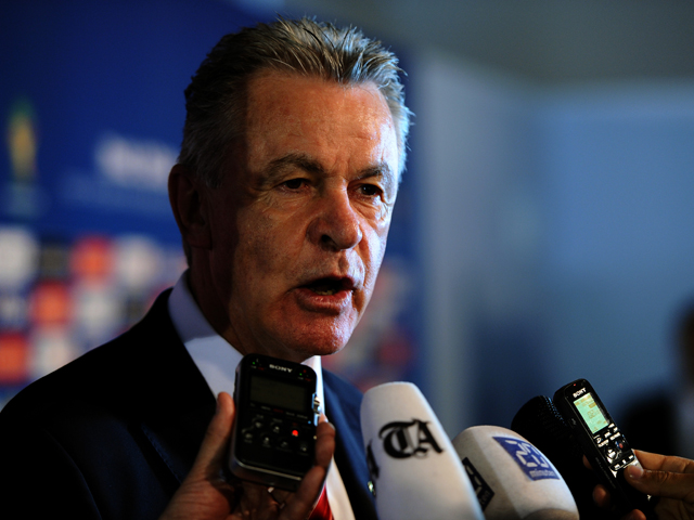 Switzerland coach Ottmar Hitzfeld speaks to members of the media after the Final Draw for the 2014 FIFA World Cup Brazil at Costa do Sauipe Resort on December 6, 2013