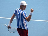 Czech Republic's Tomas Berdych celebrates his victory against Damir Dzumhur of Bosnia and Herzegovina during their men's singles match on day five of the 2014 Australian Open tennis tournament in Melbourne on January 17, 2014
