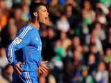 Real Madrid's Portuguese forward Cristiano Ronaldo celebrates after scoring during the Spanish league football match Real Betis vs Real Madrid on January 18, 2014