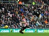 Southampton's Dejan Lovren scores his team's second goal against Sunderland during their Premier League match on January 18, 2014
