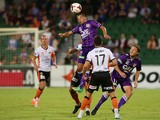 Adrian Zahra of the Glory heads the ball during the round 15 A-League match between Perth Glory and the Brisbane Roar at nib Stadium on January 17, 2014