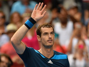 Andy Murray celebrates his victory over Feliciano Lopez during their Australian Open third round match on January 18, 2014