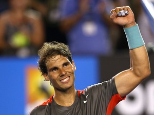 Rafael Nadal of Spain celebrates winning his second round match against Thanasi Kokkinakis of Australia during day four of the 2014 Australian Open at Melbourne Park on January 16, 2014